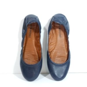 LUCKY BRAND Blue Leather Ballet Flats